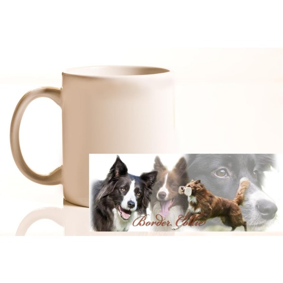 Tasse mit Rasseaufdruck Border-Collie, linkshänder