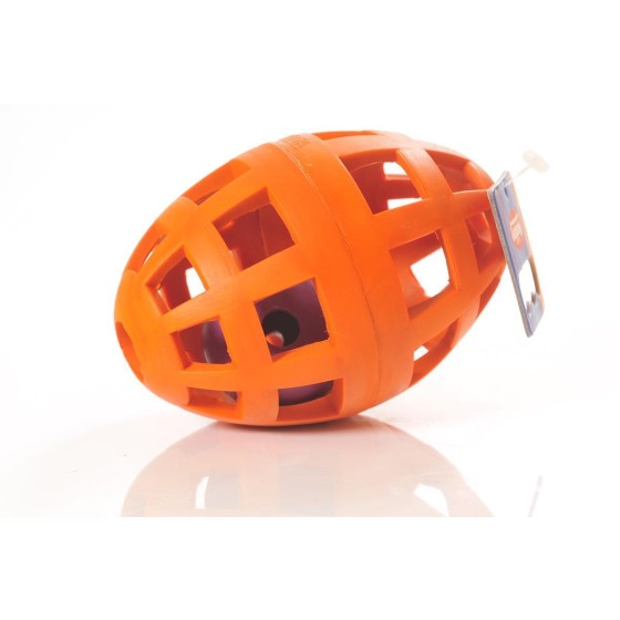 Vollgummi-Football mit Rassel orange